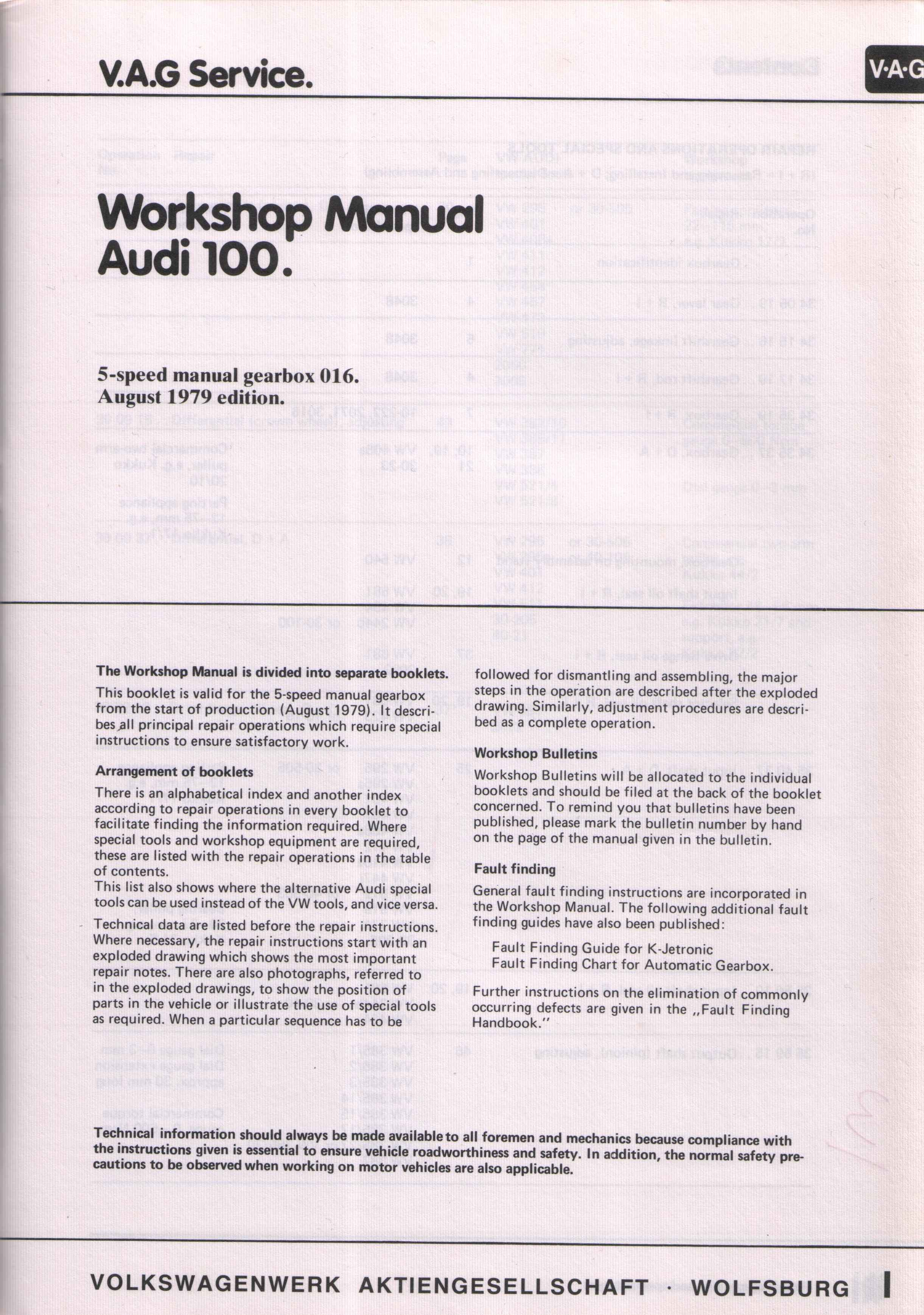 august 1979 audi 100 workshop manual for the 016 5 speed gearbox rh t85q com audi 100 c3 workshop manual audi 100 c4 service manual pdf